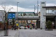 A view of a Nottingham Express Transit (NET) tram on a bridge that takes people to the city centre in Nottingham, Nottinghamshire, United Kingdom. Nottingham was declared England's least car-dependent city in 2010, and many commuters choose to travel to work via the 51-station tram line. <br /> (photo by Andrew Aitchison / In pictures via Getty Images)