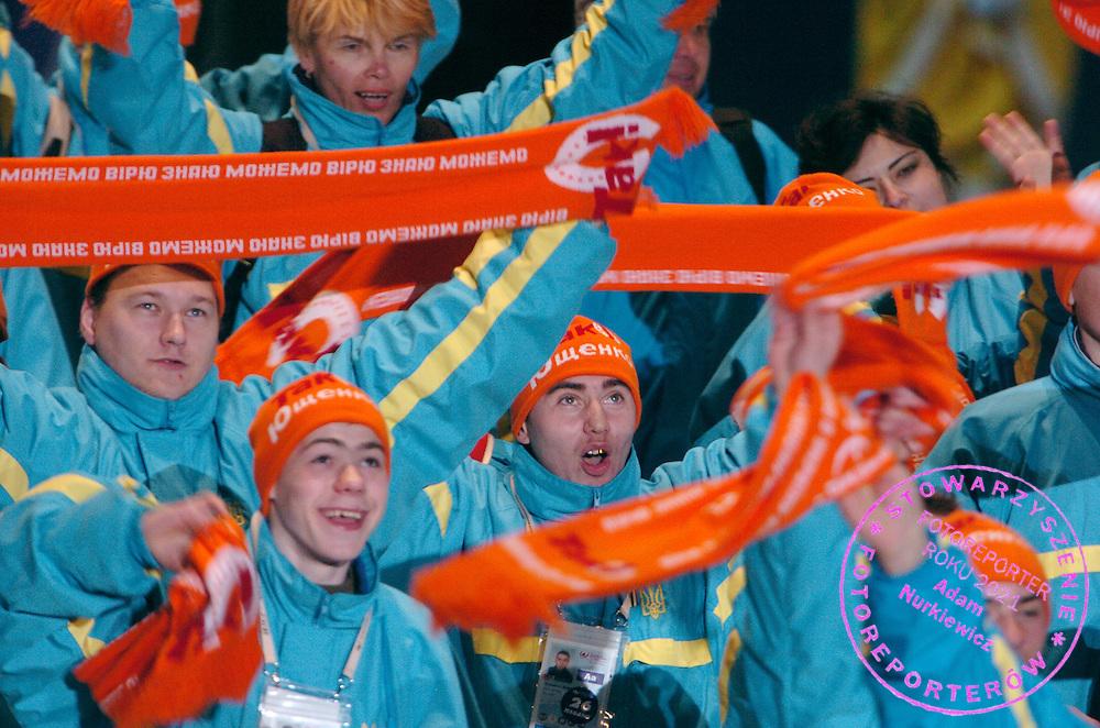 """n/z.: Ukrainska ekipa - Olimpiady Specjalne Igrzyska Zimowe podczas ceremonii otwarcia w hali """" T Wave """" w Nagano. Japonia , Nagano , 26-02-2005 , fot.: Adam Nurkiewicz / mediasport..Ukraine's team - Special Olympics Winter Games during opening ceremony at """" T Wave Hall """" in Nagano. February 26, 2005 , Japan , Nagano ( Photo by Adam Nurkiewicz / mediasport )"""