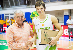 Iztok Rems and Jaka Klobucar of Slovenia as MVP after the friendly basketball match between National teams of Slovenia and Ukraine at day 3 of Adecco Cup 2014, on July 26, 2014 in Rogaska Slatina, Slovenia. Photo by Vid Ponikvar / Sportida.com
