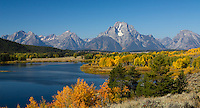 Mt. Moran peaks in the horizon beyond Oxbow Bend at Grand Teton National Park, Wyoming