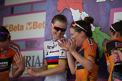 Boels-Dolmans Cycling Team celebrate winning the best team's title after Stage 10 of the Giro Rosa - a 124 km road race, starting and finishing in Torre Del Greco on July 9, 2017, in Naples, Italy. (Photo by Balint Hamvas/Velofocus.com)