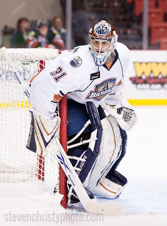 January 1, 2011: The Oklahoma City Barons play the Rockford Ice Hogs in an American Hockey League game at the Cox Convention Center in Oklahoma City.