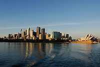 Sydney CBD at sunrise with the opera, Australia.