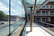 modern design housing with large court and glass balustrade Amsterdam Netherlands, Van Baerlestraat