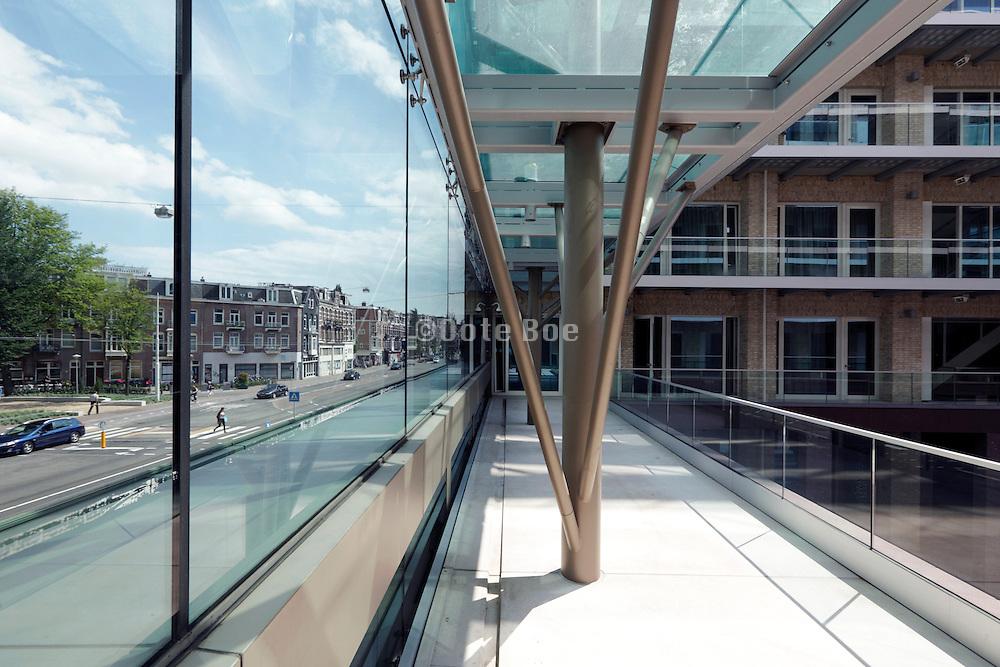 modern design housing with large court and glass balustrade Amsterdam Netherlands, Van Baerlestraat