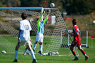 Essex goalie Paul Federico (1) catches the ball during the boys soccer game between the Champlain Valley Union Redhawks and the Essex Hornets at Essex High School on Saturday mooring October 10, 2015 in Essex. (BRIAN JENKINS/For the FREE PRESS)