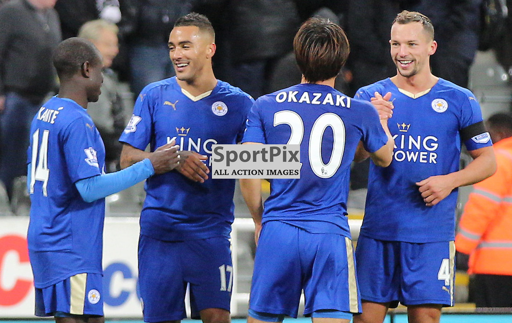 Newcastle United v Leicester City English Premiership 21 November 2015; Leicester players celebrate after the Newcastle v Leicester City English Premiership match played at St. James' Park, Newcastle; <br /> <br /> &copy; Chris McCluskie | SportPix.org.uk