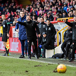 Aberdeen v Celtic, SPrem, 25th February 2018<br /> <br /> Aberdeen v Celtic, SPrem, 25th February 2018 &copy; Scott Cameron Baxter | SportPix.org.uk<br /> <br /> Derek McInnes screams at his players to press forward in a hope to overturn a 2-0 scoreline.