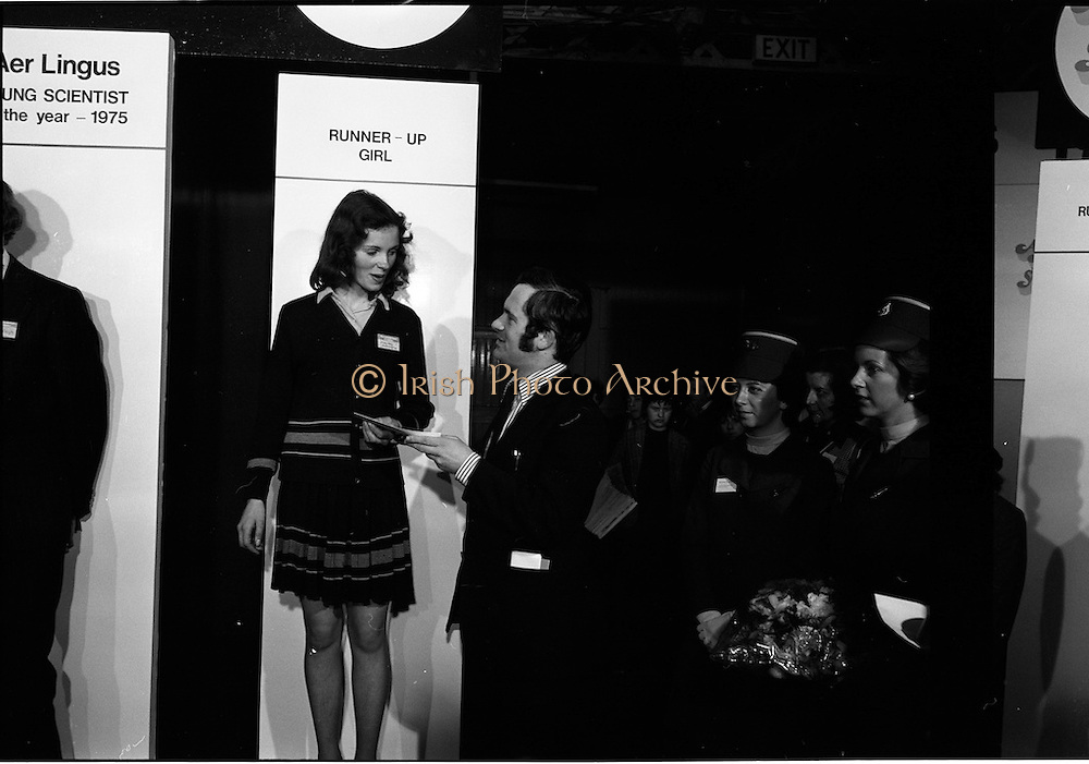 03/01/1975.01/03/1975.3rd January 1975.The Aer Lingus Young Scientist Exhibition at the RDS, Dublin...Picture shows the runner-up girl receiving her prize. .