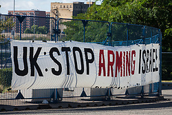 London, UK. 2 September, 2019. A banner used by activists protesting outside the Excel Centre on the first day of week-long protests against DSEI 2019, the world's largest arms fair. The first day of creative action was hosted by activists calling for a ban on arms exports to Israel and featured workshops, speakers, street theatre and dance. Israeli arms companies display weapons at DSEI marketed as 'combat-proven' following deployment against Palestinian communities.