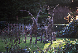 © Licensed to London News Pictures. 26/12/2016. Goring-, UK. Christmas reindeer decorations remain lit in the garden of George Michael's house in Goring. Pop superstar George Michael has died at his Oxfordshire home, here on the River Thames in Oxfordshire, aged 53 on Christmas day. Photo credit: Peter Macdiarmid/LNP