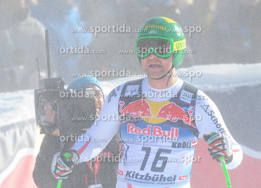 26.01.2013, Streif, Kitzbuehel, AUT, FIS Weltcup Ski Alpin, Abfahrt, Herren, im Bild Klaus Kroell (AUT) // Klaus Kroell of Austria reacts after mens Downhill of the FIS Ski Alpine World Cup at the Streif course, Kitzbuehel, Austria on 2013/01/26. EXPA Pictures © 2013, PhotoCredit: EXPA/ Erich Spiess
