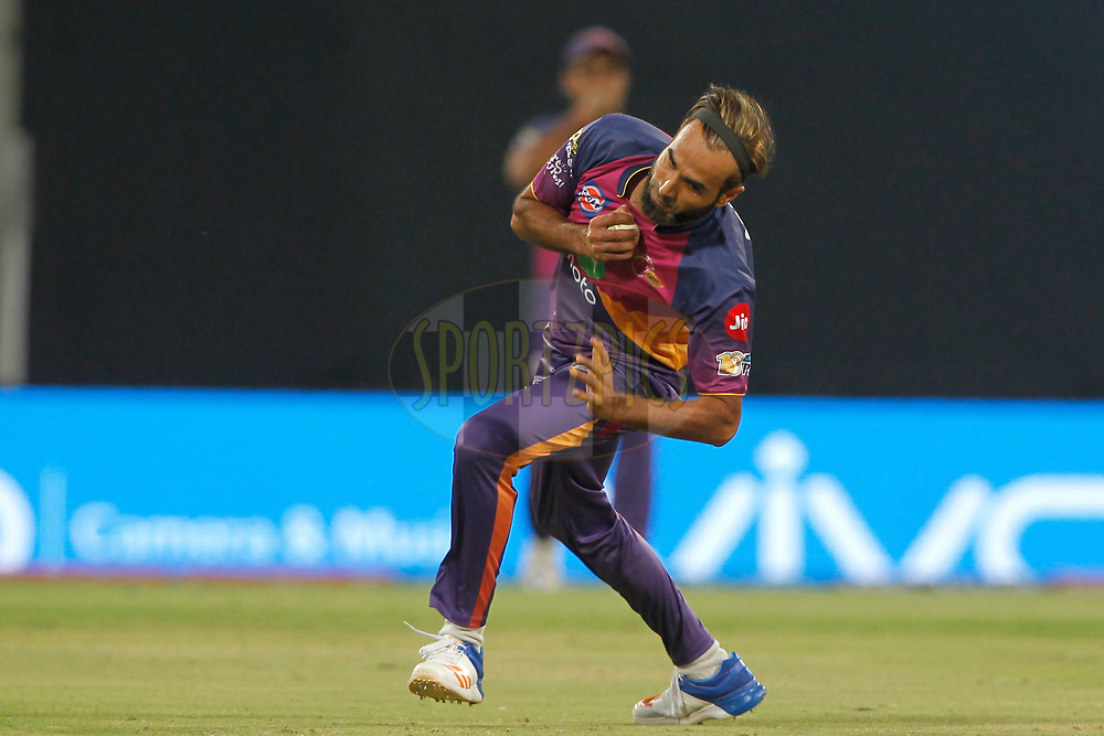 Akshar Patel of Kings XI Punjab c &amp; b by Imran Tahir of Rising Pune Supergiant during match 4 of the Vivo 2017 Indian Premier League between the Kings X1 Punjab and the rising Pune Supergiant held at the Holkar Cricket Stadium in Indore, India on the 8th April 2017<br /> <br /> Photo by Deepak Malik - IPL - Sportzpics