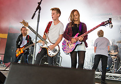 © Licensed to London News Pictures. 28/08/2015. Reading Festival, UK.  The Mini Band performing at Reading Festival 2015 28 August 2015 Day 1.  The Mini Band are a british four piece whose members are all aged 12-14.  They became famous after a video of them playing the Metallica song Enter Sandman was uploaded onto YouTube and which went viral with over 8.6m hits.  Metallica are headlining the main stage tonight, they have invited The Mini Band to meet them.    The Mini band are Harry Esson (guitar, age 12), Zoe Thomson (age 12, guitar), Harrison Read (vocals) , Charlie Emmons (age 14 (drums), Archie Zolotuhin (age 14, bass).  Photo credit: Richard Isaac/LNP
