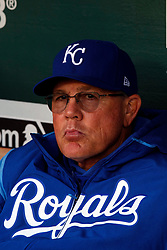 OAKLAND, CA - SEPTEMBER 16: Ned Yost #3 of the Kansas City Royals sits in the dugout before the game against the Oakland Athletics at the RingCentral Coliseum on September 16, 2019 in Oakland, California. The Kansas City Royals defeated the Oakland Athletics 6-5. (Photo by Jason O. Watson/Getty Images) *** Local Caption *** Ned Yost