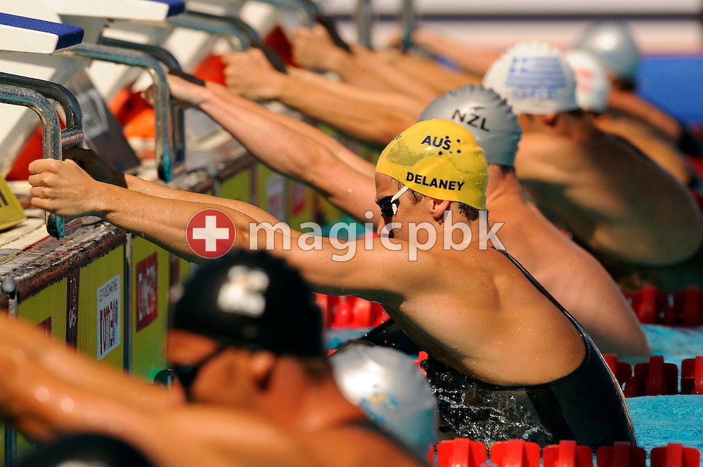 Ashley DELANEY (C) of Australia starts on the backstroke leg in the men's 4x100m medley relay preliminary at the 13th FINA World Championships at the Foro Italico complex in Rome, Italy, Sunday, Aug. 2, 2009. (Photo by Patrick B. Kraemer / MAGICPBK)