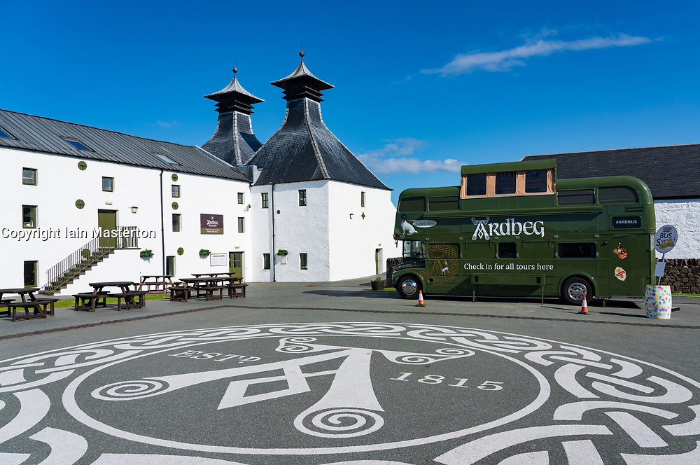 View of Ardbeg Distillery on island of Islay in Inner Hebrides of Scotland, UK