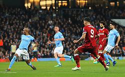 Roberto Firmino of Liverpool scores his sides second goal - Mandatory by-line: Matt McNulty/JMP - 10/04/2018 - FOOTBALL - Etihad Stadium - Manchester, England - Manchester City v Liverpool - UEFA Champions League Quarter Final Second Leg