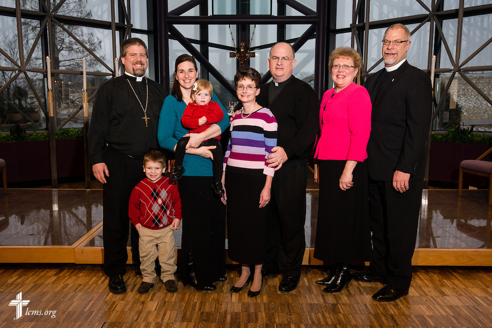 (L-R) The Rev. Micah Wildauer and Robin Wildauer, the Rev. Dale Kaster and Suzanne Kaster, and the Rev. Steven Schumacher and Cindy Schumacher, all missionaries to Africa, are recognized Friday, Feb. 14, 2014, at a Service of Sending at The Lutheran Church--Missouri Synod International Center in Kirkwood, Mo. LCMS Communications/Erik M. Lunsford