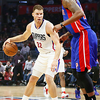 07 November 2016: Los Angeles Clippers forward Blake Griffin (32) dribbles during the LA Clippers 114-82 victory over the Detroit Pistons, at the Staples Center, Los Angeles, California, USA.
