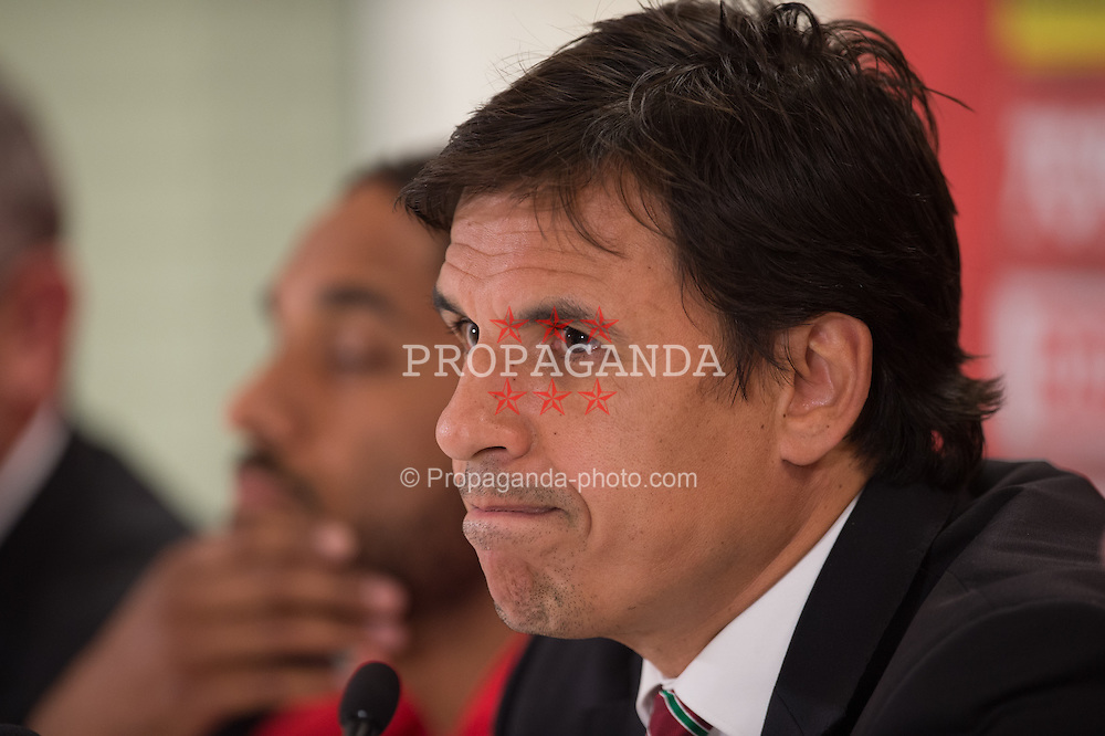 VIENNA, AUSTRIA - Wednesday, October 5, 2016: Wales manager Chris Coleman during a press conference at the Ernst-Happel-Stadion ahead of the 2018 FIFA World Cup Qualifying Group D match against Austria. (Pic by Peter Powell/Propaganda)