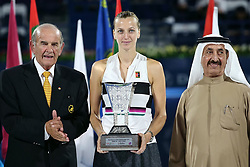 DUBAI-, Feb. 24, 2019  Petra Kvitova (C) of the Czech Republic poses with the trophy after the women's singles final match between Belinda Bencic of Switzerland and Petra Kvitova of the Czech Republic at Dubai Duty Free Tennis WTA Championships 2019 in Dubai, the United Arab Emirates, Feb. 23, 2019. Belinda Bencic won 2-1 and claimed the title. (Credit Image: © Xinhua via ZUMA Wire)
