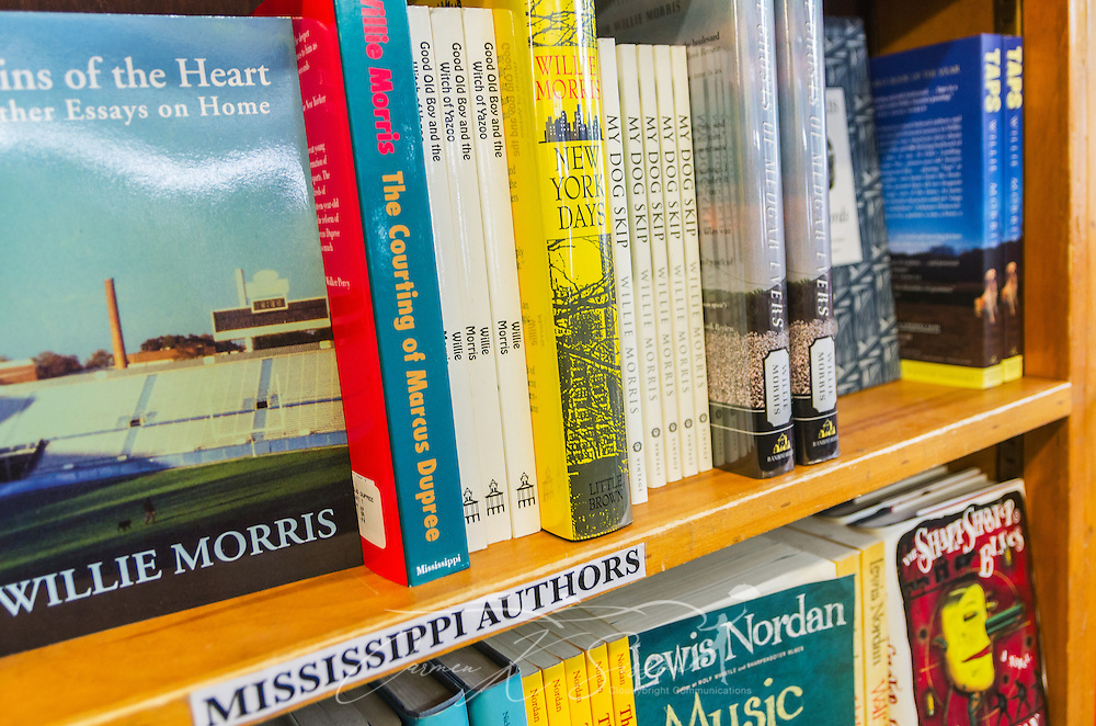Numerous books by Mississippi authors are available at Square Books, May 31, 2015, in Oxford, Mississippi. The family-owned bookstore was founded in 1979 by Richard and Lisa Howorth and is considered to be one of the catalysts prompting downtown revitalization in Courthouse Square.  (Photo by Carmen K. Sisson/Cloudybright)