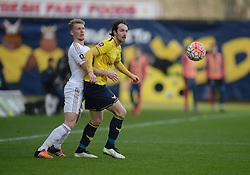 Danny Hylton of Oxford United heads the ball. - Mandatory byline: Alex James/JMP - 10/01/2016 - FOOTBALL - Kassam Stadium - Oxford, England - Oxford United v Swansea City - FA Cup Third Round
