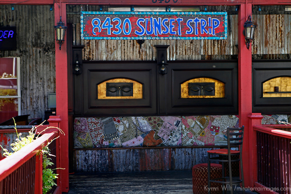USA, California, Los Angeles. Entrance to the House of Blues on Sunset Strip, West Hollywood.