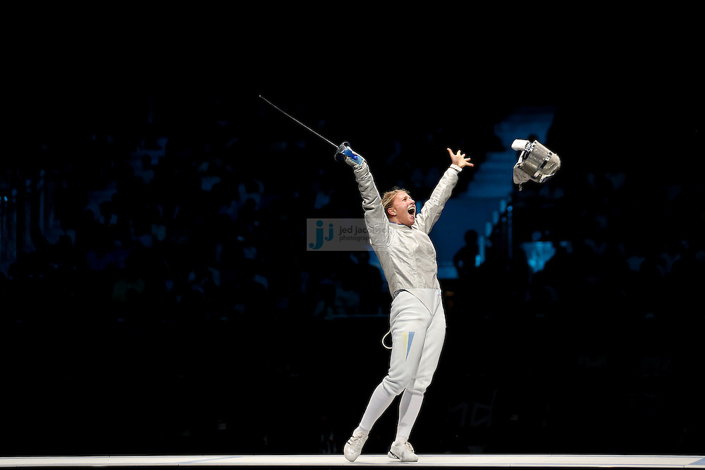Olga Kharlan of the Ukraine celebrates after defeating Mariel Zagunis in the Womes's Individual Sabre bronze medal match in fencing at the Xcel center during day 5 of the London Olympic Games London on August 1, 2012..(Jed Jacobsohn/for The New York Times)....