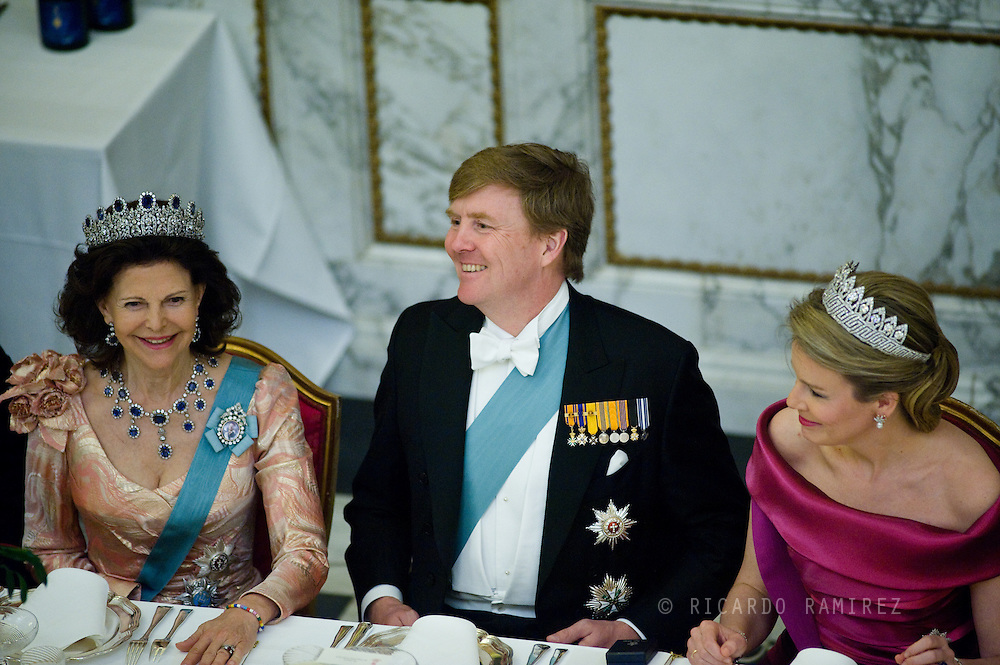 15.04.2015. Copenhagen, Denmark.Queen Silvia of Sweden, King Willem-Alexander of The Netherlands and Queen Mathilde of Belgium during a Gala Dinner at Christiansborg Palace on the eve of The 75th Birthday of Queen Margrethe of Denmark.Photo:© Ricardo Ramirez