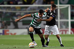 September 20, 2018 - Lisbon, Portugal - Sporting's midfielder Rodrigo Battaglia from Argentina (L) vies with Qarabag's midfielder Abdellah Zoubir during the UEFA Europa League Group E football match Sporting CP vs Qarabag at Alvalade stadium in Lisbon, on September 20, 2018. (Credit Image: © Pedro Fiuza/NurPhoto/ZUMA Press)