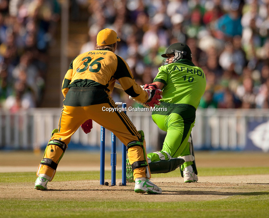 Shahid Afridi is lbw Steve Smith for nought during the first International T20 match between Australia and Pakistan at Edgbaston, Birmingham.  Photo: Graham Morris (Tel: +44(0)20 8969 4192 Email: sales@cricketpix.com) 05/07/10