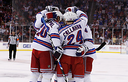 Oct 5, 2009; Newark, NJ, USA; The New York Rangers celebrate a goal by New York Rangers defenseman Michael Del Zotto during the first period at the Prudential Center.