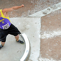 Custer standout Tyler Schultz competes in the shot put during the Class A state track in Rapid City. Schultz won the event with a toss of 67 feet, 1.75 inches. He also won the discuss state title.