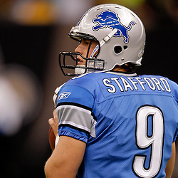 2009 September 13: Detroit Lions quarterback Matthew Stafford (9) during warm ups before a week one regular season game between the New Orleans Saints and the Detroit Lions at the Louisiana Superdome in New Orleans, Louisiana.