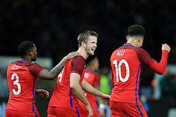 England's Eric Dier celebrates with Spurs team mates Danny Rose and Dele Alli after scoring his late winner  - Mandatory by-line: Matt McNulty/JMP - 26/03/2016 - FOOTBALL - Olympiastadion - Berlin, Germany - Germany v England - International Friendly