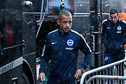 Liam Rosenior (23) of Brighton and Hove Albion gets off the team bus in the pouring rain on arrival at the Vitality Stadium before the Premier League match between Bournemouth and Brighton and Hove Albion at the Vitality Stadium, Bournemouth, England on 15 September 2017. Photo by Graham Hunt.