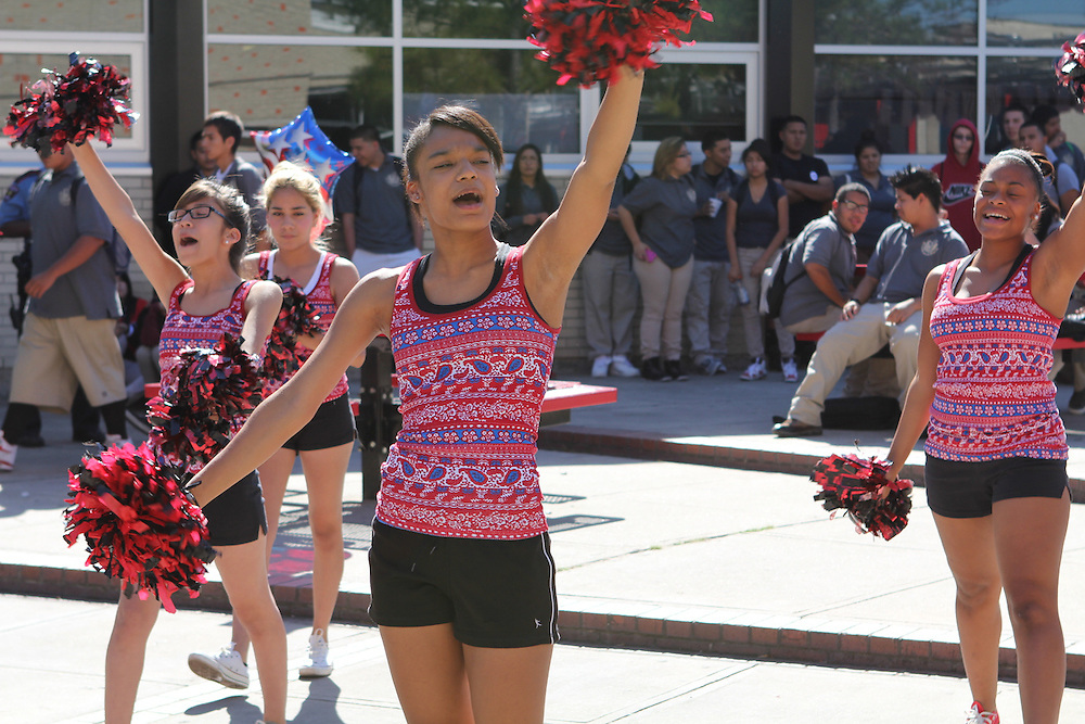 Furr HS students participate in a pep rally to celebrate the passage of the 2012 Houston Schools Bond.