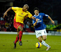 Photo: Ed Godden/Sportsbeat Images.<br /> Watford v Everton. The Barclays Premiership. 24/02/2007.<br /> Watford's Damien Francis (L), is followed by Mikel Arteta.