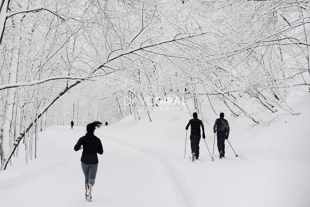 Woman running and two men cross-country skying in Snow covered Mont Royal Park in Winter, Parc du Mont Royal, Montreal, Quebec, Canada