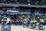 UNITED KINGDOM, London: 2015 World Wheelchair Rugby Challenge. Caption: New Zealand's Cameron Leslie sprints down the line whilst in possession of the ball during a game against Australia. Rick Findler / Story Picture Agency