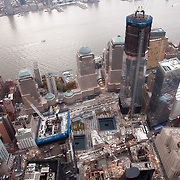 View of the Ground Zero Sept. 11th site and the new One World Trade Center tower construction in Lower Manhattan, New York City on November 10, 2011.
