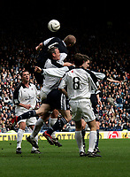 Photo: Tom Ross.<br />Gretna v Dundee. Tennants Scottish Cup, Semi-Final. 01/04/2006.<br />Second half tussle in the Dundee goal between Ryan McGuffie (R), Bobby Mann.