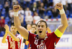 Momir Ilic  of Serbia celebrates after winning the handball match between Poland and Serbia in Preliminary Round of 10th EHF European Handball Championship Serbia 2012, on January 15, 2012 in Arena Pionir, Belgrade, Serbia. Serbia defeated Poland 22-18. (Photo By Vid Ponikvar / Sportida.com)