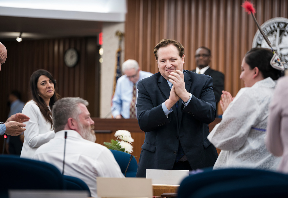 Alders applaud the service of Larry Palm, Alder District 12, before the swearing in ceremony for Satya Rhodes-Conway and newly elected Alders at the City County Building in Madison, WI on Tuesday, April 16, 2019.