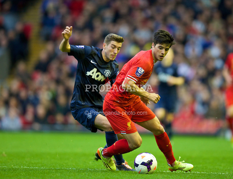 ANFIELD, ENGLAND - Friday, May 2, 2014: Liverpool's Joao Carlos Teixeira in action against Manchester United during the Under 21 FA Premier League Semi-Final match at Anfield. (Pic by David Rawcliffe/Propaganda)