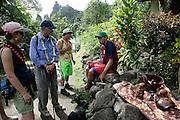 Wod carver, Hanavave, Island of Fatu Hiva, Marquesas Islands, French Polynesia, (Editorial use only)<br />