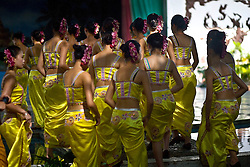 Dai women participate in beauty pageant for tourists at Dai Minority Park in Yunnan, China.