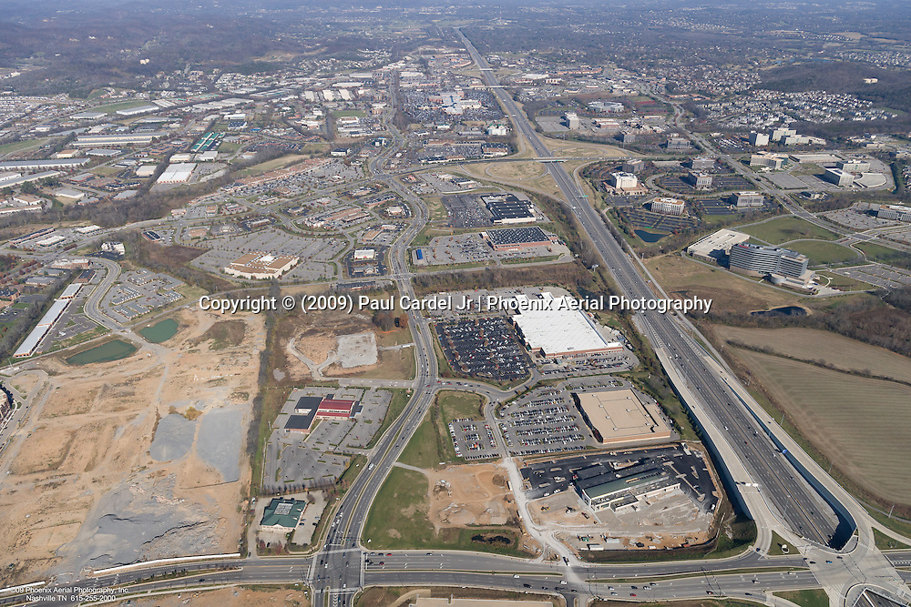 Aerial photo showing the intersection of I-65, McEwen Drive and Mallory Lane in the CoolSprings area of Franklin Tennessee.